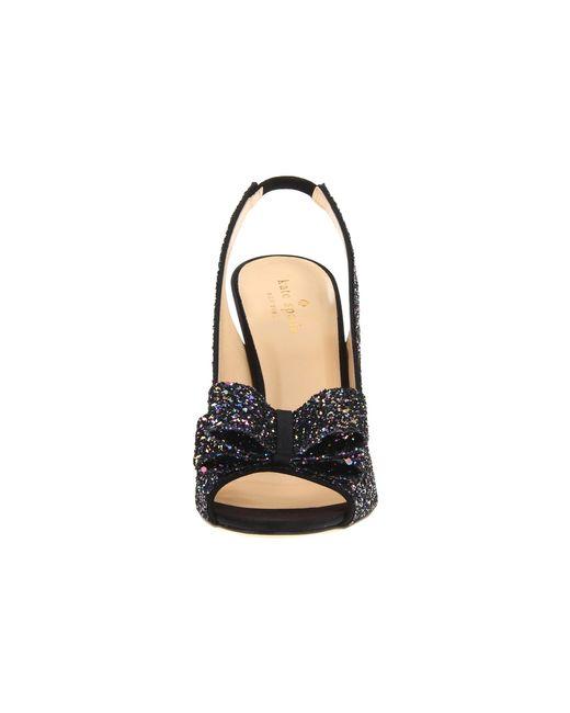 kate spade charm heel in black black multi glitter black
