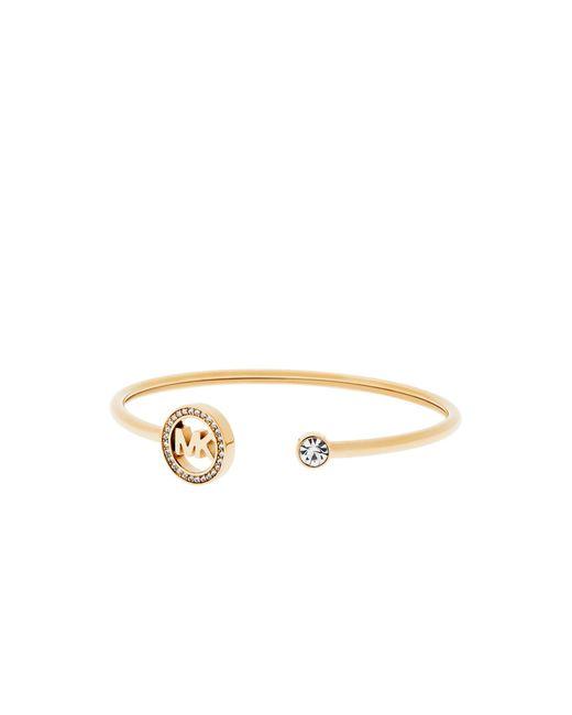 Michael Kors | Metallic Fulton Pavé Gold-tone Logo Cuff | Lyst