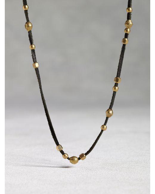 John Varvatos | Metallic Leather & Bronze Bead Necklace for Men | Lyst