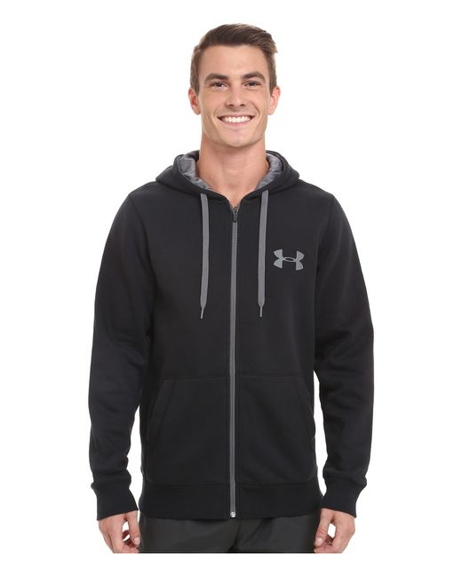 Under Armour | Black Ua Rival Cotton Full Zip Hoodie for Men | Lyst