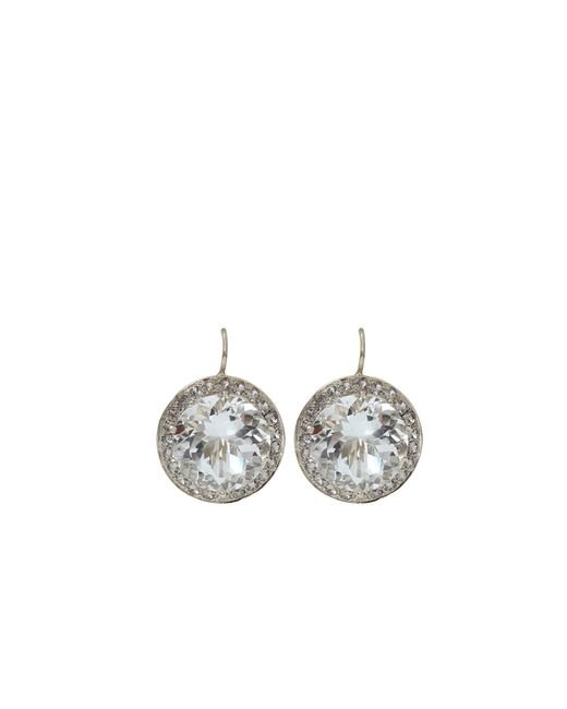 Andrea Fohrman | Metallic 15mm Rock Crystal And Sapphire Earrings | Lyst