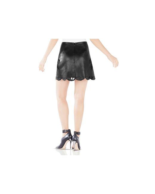 BCBGMAXAZRIA   Black Jennifer Embroidered Faux Leather Skirt   Lyst