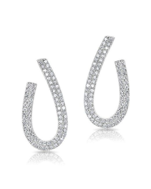 Anne Sisteron - 14kt White Gold Diamond Curve Earrings - Lyst
