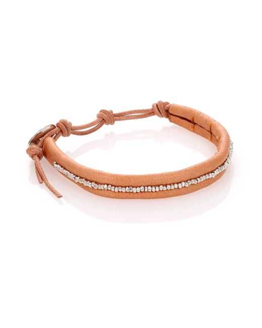 Chan Luu   Orange Sterling Silver & Leather Beaded Wrap Bracelet   Lyst