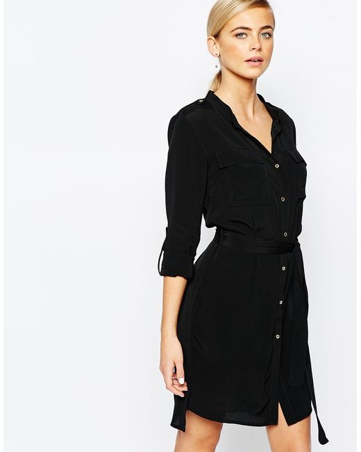 oasis belted shirt dress in black lyst