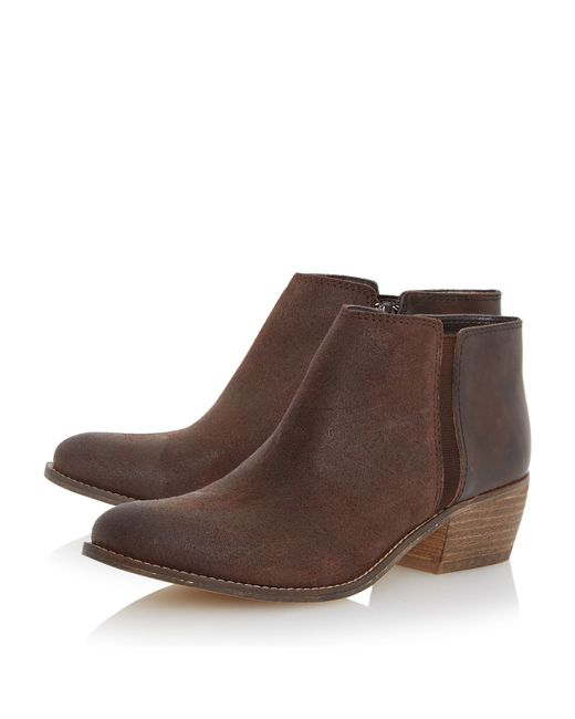 dune penelope low heel ankle boots in brown save 20 lyst