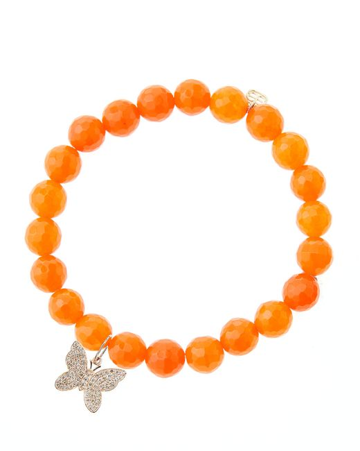 Sydney Evan | 8Mm Orange Agate Beaded Bracelet With 14K Rose Gold Diamond Butterfly Charm (Made To Order) | Lyst