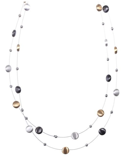 Nine West | Metallic Tri Tone Circles Two Row Necklace | Lyst