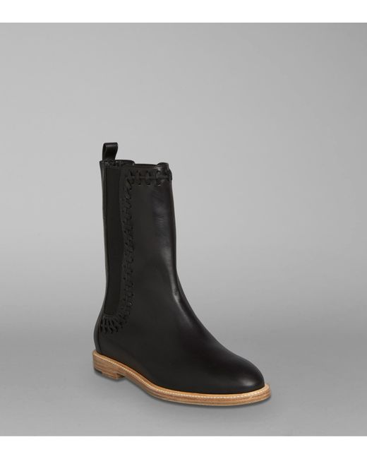 maiyet hazel whipstitch flat ankle boot in black lyst