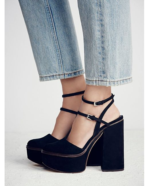 Free People | Black Twin Sundown Suede Platforms | Lyst
