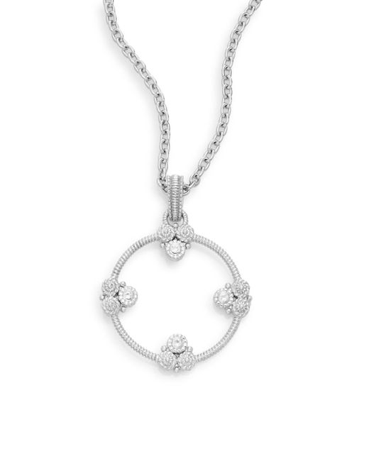 Judith Ripka | Metallic Garland White Sapphire & Sterling Silver Circle Pendant Necklace | Lyst