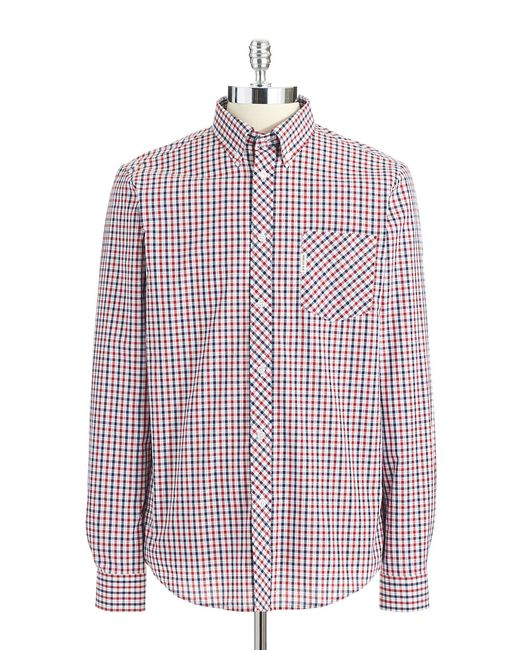Ben Sherman | Red Mini Mod Checked Long Sleeve Shirt for Men | Lyst