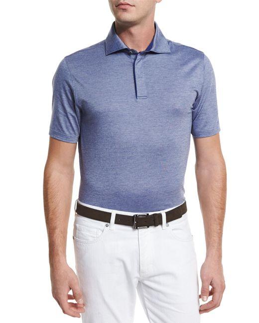Ermenegildo zegna stretch cotton polo shirt in blue for for Zegna polo shirts sale