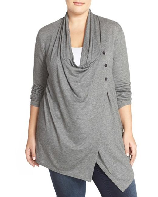 Sejour Terry Side Button Dneck Jacket In Gray Grey
