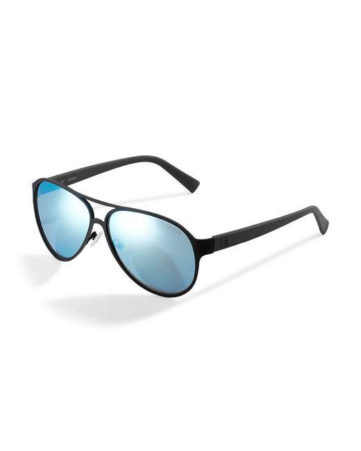 Guess | Black Matte Metal Aviator Sunglasses for Men | Lyst