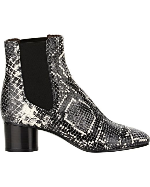 Isabel Marant   White Danae Snake-effect Leather Ankle Boots   Lyst