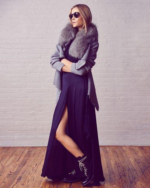 Barbara Bui | Gray Fur Collar Sweater | Lyst