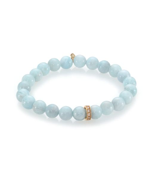 Sydney Evan | Metallic Diamond, Aquamarine & 14k Yellow Gold Wheel Beaded Stretch Bracelet | Lyst