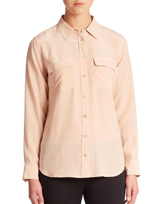 Equipment | Beige Slim Signature Silk Shirt | Lyst
