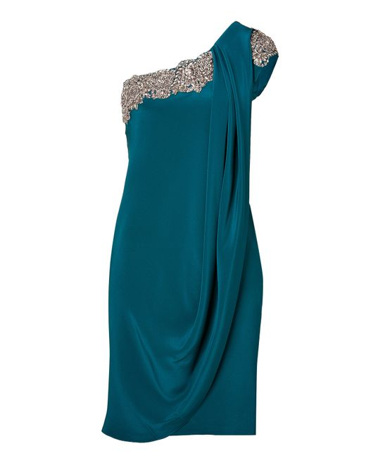 Marchesa | Crystal Embroidered Silk Crepe One Shoulder Dress In Teal - Blue | Lyst