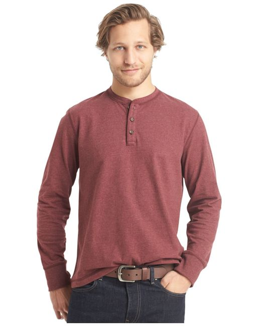 G h bass co long sleeve henley t shirt in brown for for H m mens henley t shirt long sleeve