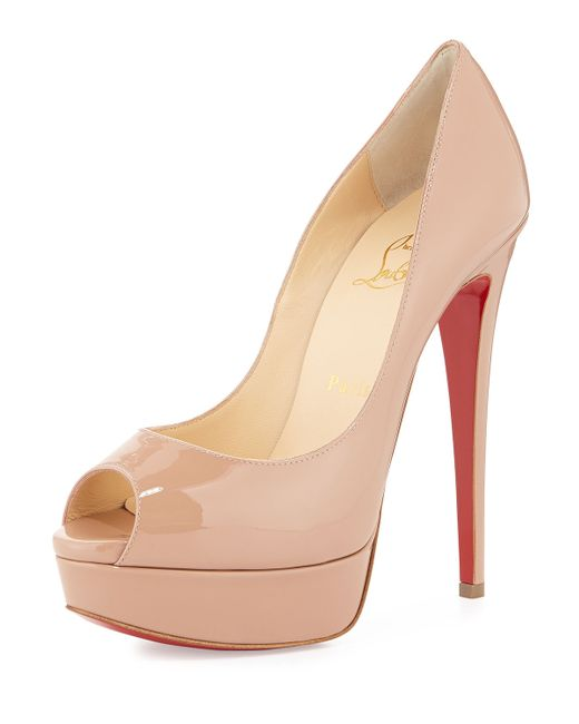 Christian Louboutin | Brown Lady Peep Patent Red Sole Pump | Lyst