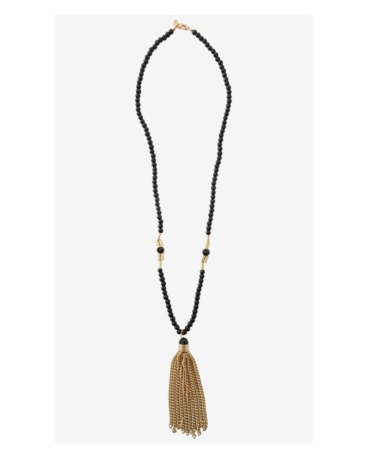 Express | Black Beaded Tassel Pendant Necklace | Lyst