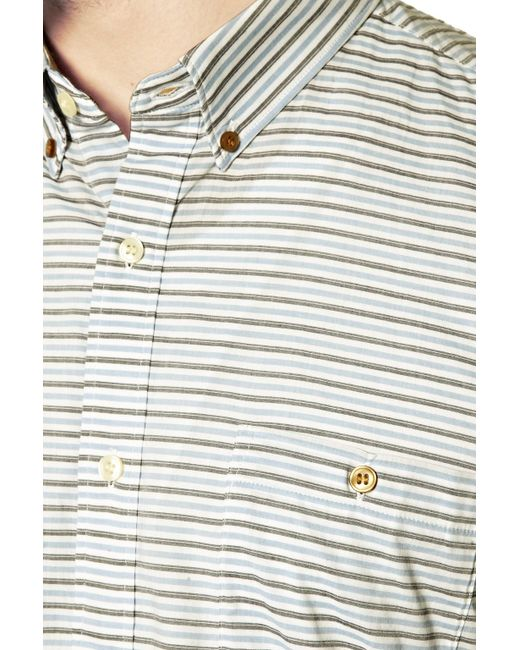 French Connection | Yellow Boilly Stripe Slim Fit Long Sleeve Shirt for Men | Lyst