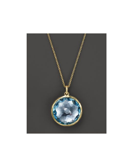 "Ippolita | 18k Lollipop Medium Round Pendant Necklace In Blue Topaz, 16-18"" | Lyst"