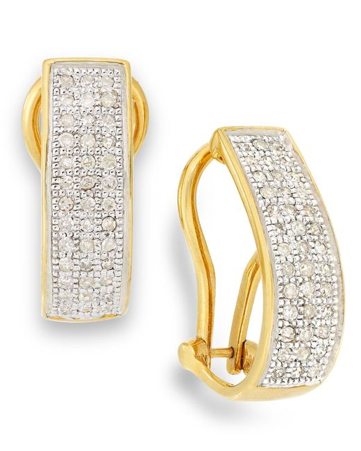 Macy's | Metallic Diamond Omega Hoop Earrings In 10k Gold (1/4 Ct. T.w.) | Lyst