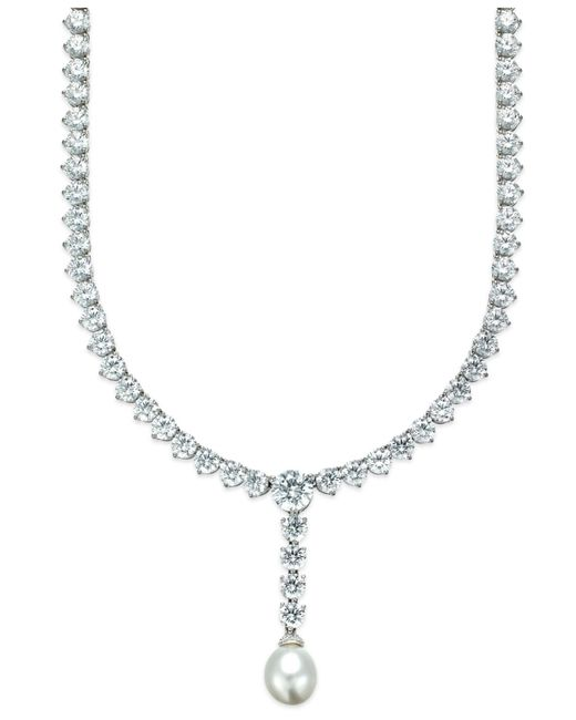 Arabella | Metallic Cultured Freshwater Pearl (10mm) And Swarovski Zirconia (75-3/4 Ct. T.w.) Necklace In Sterling Silver | Lyst