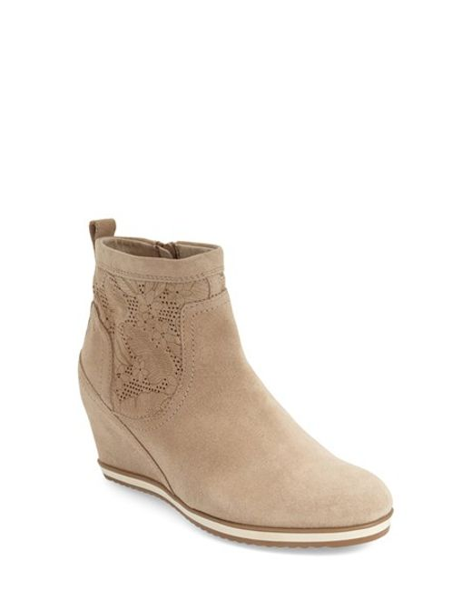 geox perforated wedge boots in brown light taupe suede