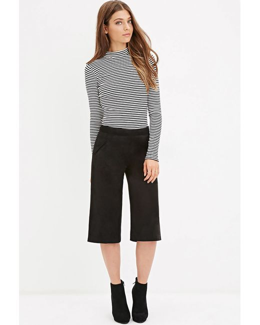 Forever 21   Black Faux Suede Culottes   Lyst