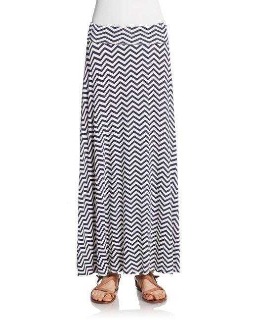bobeau blue chevron print maxi skirt lyst
