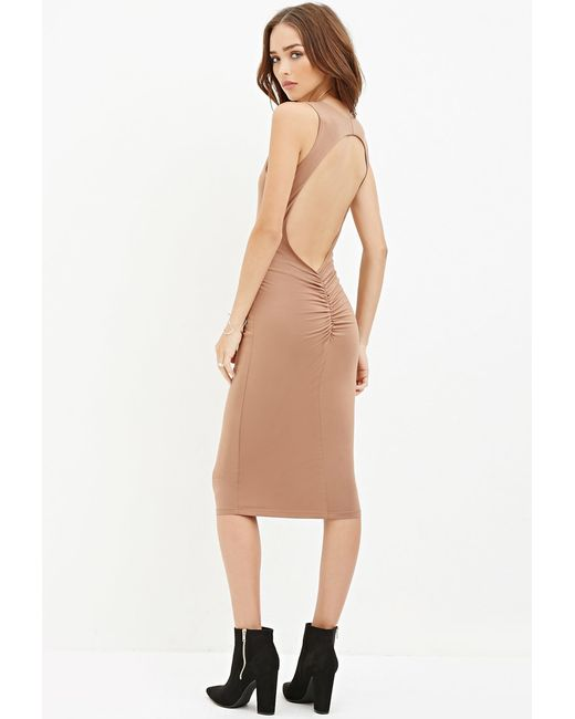 Forever 21   Natural Cutout-back Midi Dress   Lyst