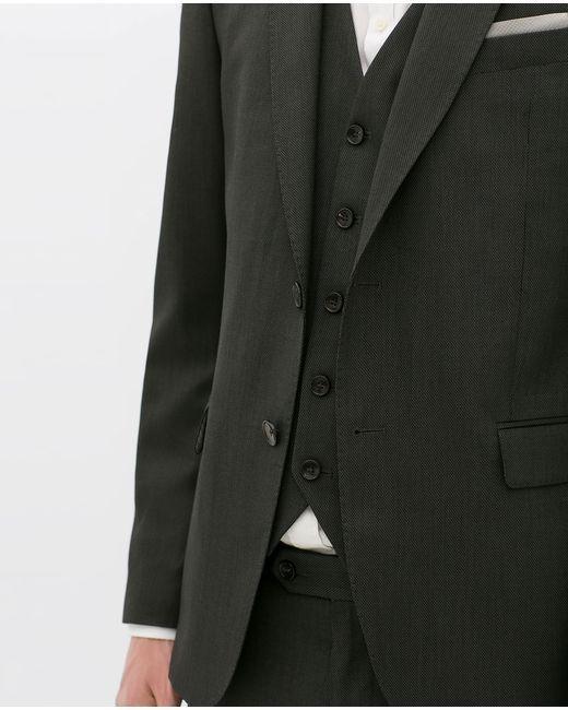Zara | Black Birdseye Suit Waistcoat for Men | Lyst