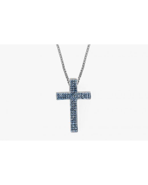 Tateossian | Precious Cross Micro Pavé Necklaces In Silver With 46 0.6ct Blue Sapphires for Men | Lyst