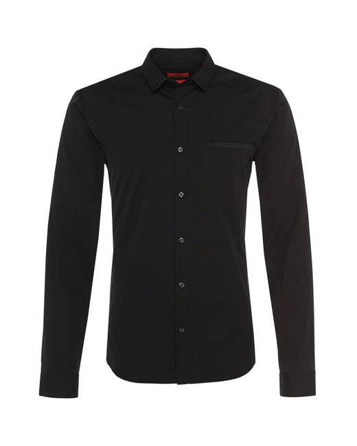 HUGO | Black Slim-fit Shirt In Cotton: 'edell' for Men | Lyst