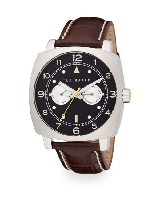 Ted Baker   Black Square Stainless Steel & Leather Multifunction Watch   Lyst