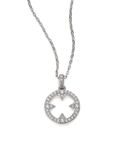 Adriana Orsini | Metallic Heart & Soul Pave Sterling Silver Clover Disc Pendant Necklace | Lyst