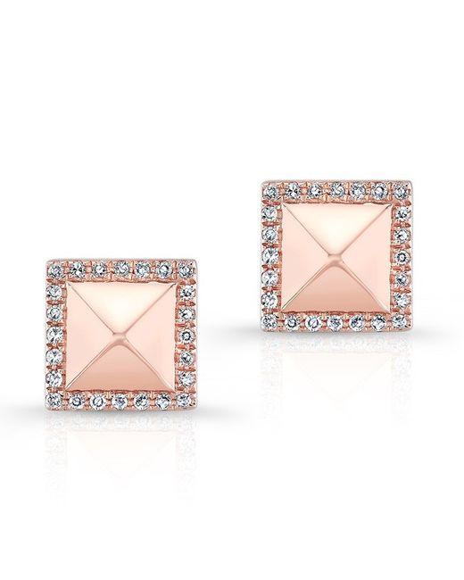Anne Sisteron - Pink 14kt Rose Gold Diamond Edged Pyramid Stud Earrings - Lyst