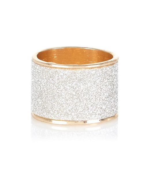 River Island | Metallic Gold Tone Oversized Glitter Ring | Lyst