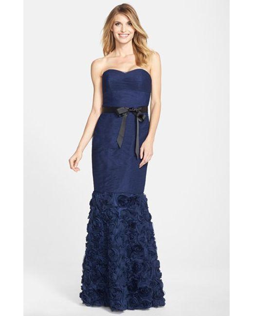 JS Collections   Blue Rosette Detail Shirred Mesh Dress   Lyst