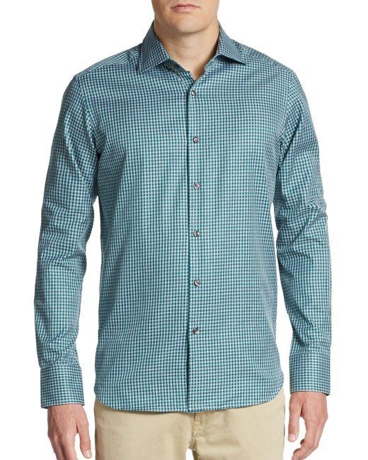 Saks Fifth Avenue | Green Regular-fit Gingham Cotton Sportshirt for Men | Lyst