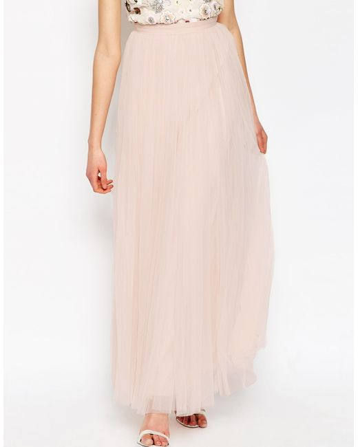 needle thread tulle maxi skirt in pink save 20 lyst