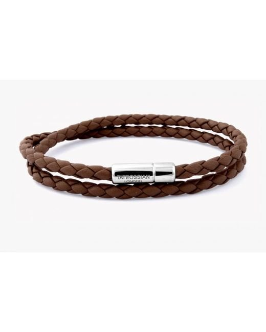 Tateossian | Double Wrap Slim Pop Bracelet In Light Brown Leather With Silver Clasp for Men | Lyst