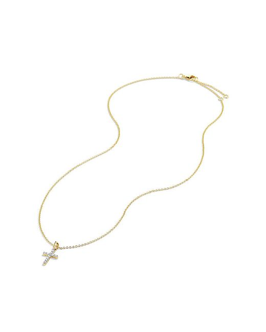 David Yurman   Metallic Cable Collectibles Cross Necklace With Diamonds In 18k Gold   Lyst