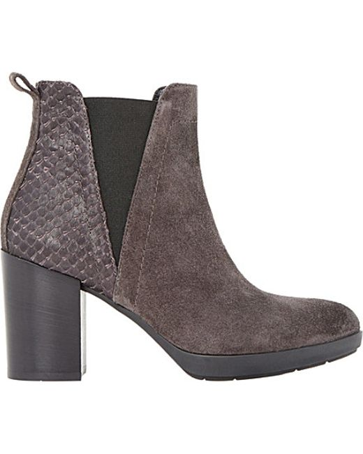 dune black pondo suede reptile trim ankle boots in brown