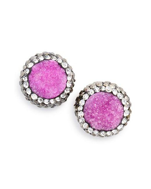 Panacea | Pink 'drusy Lux' Stud Earrings | Lyst