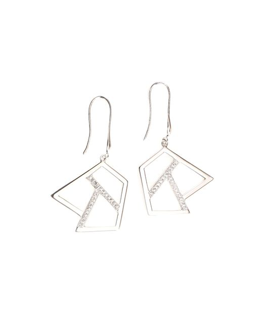 Ona Chan Jewelry | Metallic Drop Earring With Sapphire Silver | Lyst